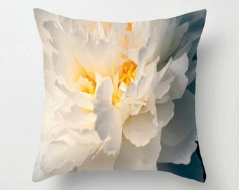 """Winter White Peony with Golden Yellow Tassel - 18"""" Throw Pillow Cover - White, Yellow, Soft Hint of Blue Grey - Garden Photography"""