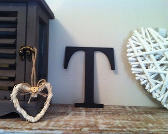 """Wooden Wall Letter 'T' - Any Colour - Plain Finish - Roman Style - 8"""""""