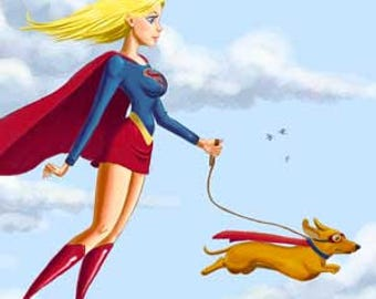 Dachshund art, magnet, Dachshund and Supergirl walking