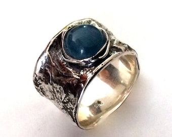 Silver nest ring, blue stone, wide band, engagement ring, unisex band, sterling silver ring, milky aquamarine ring - Love me tender R2158