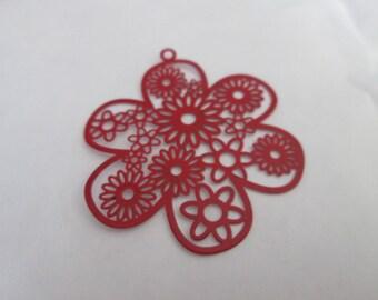 2 metal 46 mm red flower prints