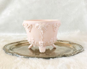 Pink Milk Glass Footed Vase Compote Dish Unique Vintage Decor Romantic Feminine Bowl
