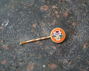 Vintage Micro Mosaic Upcycled Gold Hair Pin