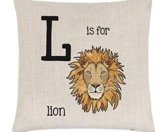 Letter L Is For Lion Linen Cushion Cover