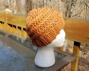 Messy Bun Beanie in Harvest - Ready to Ship - Ponytail Hat