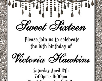 Chandelier invites etsy sweet 16 birthday invitation black chandelier on a silver faux glitter invitation sweet sixteen mozeypictures Image collections