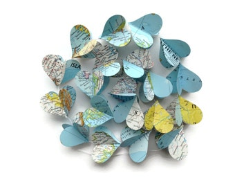 Map Heart Garland - Atlas - Mom Dad Grad - Going Away Party - Travel Themed Wedding - Handmade Party Supplies - Vertical Decor - Earth Day