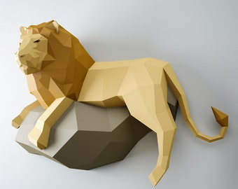 Papercraft Lion, 3D paper model, PDF paper craft template, low poly leo, wall decor DIY gift, animal head trophy, paper sculpture, pepakura