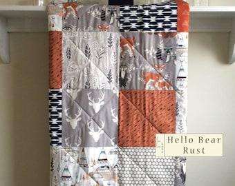 Hello Bear Quilt, Baby Blanket Boy, Woodland Quilt, Modern, Rustic, Fox, Gray, Rust Orange, Nursery Bedding, Crib Quilt - Hello Bear Rust
