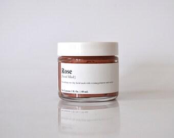 Rose Clay Facial Mask, Detox, Sensitive Skin