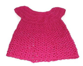 Pink Baby Dress, Crochet Baby Dress, Infant Girl Clothes, Hot Pink Dress, Baby Girl Apparel, Newborn Frock, Baby Dress, Easter Outfit