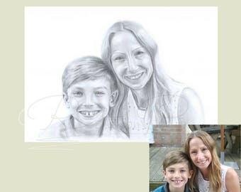Mothers Day gift, Valentines gift. Hand drawn pencil portraits, Personalised gifts for Mom, Gifts for her, Gifts for Mom, pencil drawing,