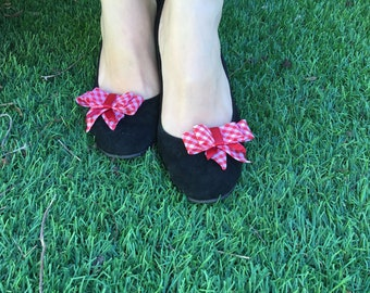Red ribbon shoe decoration. Bow shoe clip, red bow shoe Clips