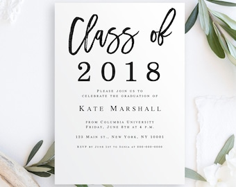 Graduation Party Invitation Template Etsy - Class party invitation template
