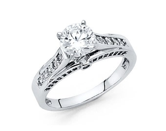 14k Solid White Gold Engagement Ring 1.5 Ct Diamond Solitaire Round Cut