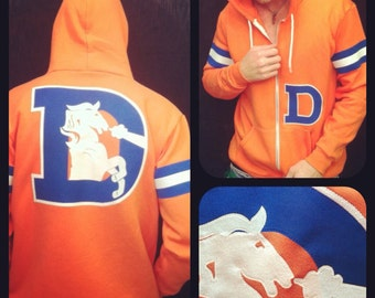 Denver Broncos Hoodie LIMITED * The Throwback Varsity  by Frozen Kiss Custom Sewn fabric retro graphics