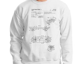 Skateboard Patent Sweatshirt, Skateboard Sweatshirt, Sketeboarder Gift, Skater Gift, Skateboarding Gift, Skateboard Clothing, Gift for Him