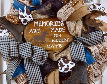 Ridin' Days Burlap and Mesh Wreath; Country Decor; Country Western Decor Wreath with Horses Rustic Primitive Denim Brown Decor Wreath