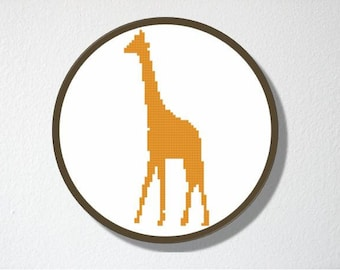 Counted Cross stitch Pattern PDF. Instant download. Giraffe Silhouette. Includes easy beginners instructions.
