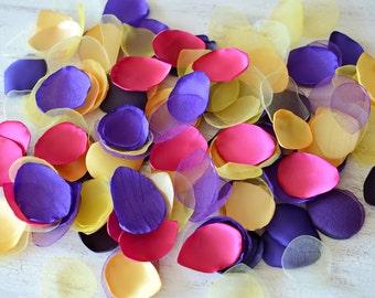 Fabric petals bulk, silk satin leaf embellishment, loose organza petals bulk (50pcs)- GEMSTONE LEAVES (Shades of Purple, Fuchsia and Yellow)