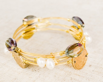 The Atlas Wrap Bracelet-Gold bracelet, wire wrapped, swarovski crystal beads, pearls, bees, for bridal parties, brides, and bridesmaids.