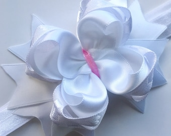 Baby Headband Boutique Bow White Baby Girl Hair Band