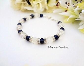 Navy Pearl&Crystal Bracelet Swarovski Bridal Bracelet for Bridesmaid Navy Blue Wedding Jewelry for Mother of Groom Bride Wedding Bracelet
