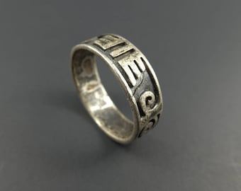 Vintage Mexico Sterling Ring, Band, Size 8, STX73