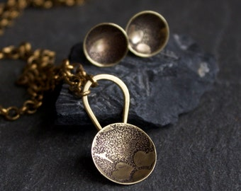 Floral Necklace and Earring Set - Etched Gold Brass, Flower Pendant, Rustic Texture, Dark Oxidized Patina, Metalwork Jewellery