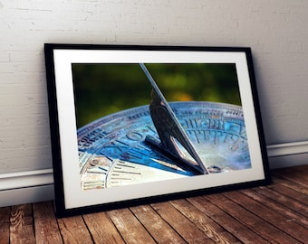 sundial, patina, bokeh, thornton burgess society, east sandwich, cape cod, massachusetts, new england, photography, fine art print