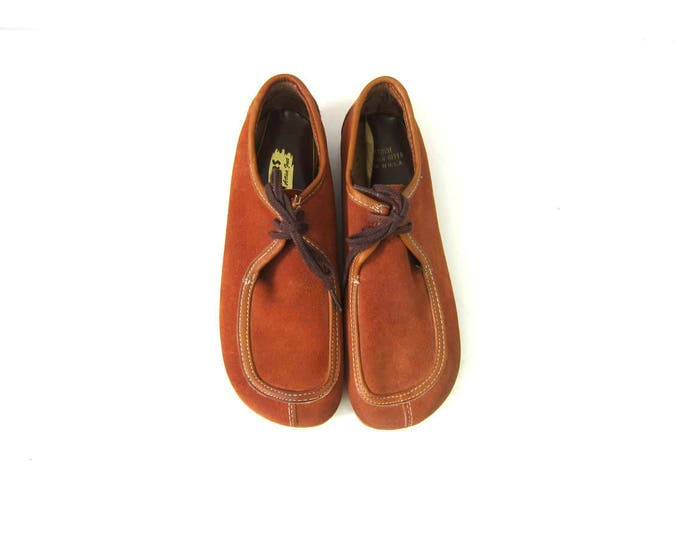 Leather Wallabees 1970s Hipster Oxfords Deadstock Striders Suede Moccasins walking Shoes Lace Up Brown shoes Women's 8