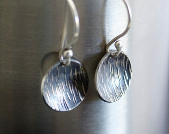 Textured  Silver Earrings, oxidized sterling silver earrings, modern earrings, simple silver earrings, circle earrings