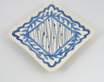 Square Ring Tray, Handbuilt Ceramic Ring Dish, Soap Dish for Guest Bath, Handmade Pottery Trinket Dish, Blue Pottery Ring Dish,