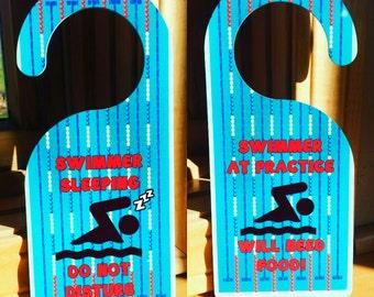 ONE swim door hanger christmas gift, Swim Coach Gift, Swim Team Gift, Swimmer gift, Triathlon Gift, Triathlete Gift, custom swim gift