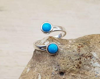 Bypass Turquoise ring. 925 sterling silver. Reiki jewelry uk. December Birthstone. 5mm 2 stone ring. Gemstone adjustable ring
