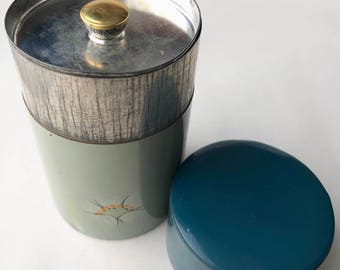 Vintage/Antique small painted tea tin, lidded container
