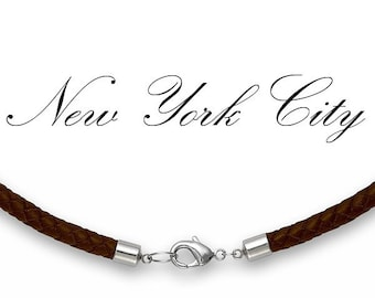 """3mm Brown Braided Bolo Leather Cord Necklace 14"""" inches - 36"""" inches Silver Clasp, You choose length. LCB0300BRNA"""