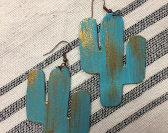 Turquoise and gold cactus leather earrings