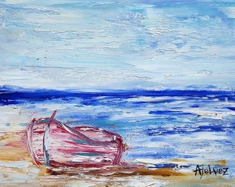 """Boat painting Row boat art Seascape painting Beach art Original oil painting Small painting Beach painting Seascape oil painting Boat 6x8"""""""