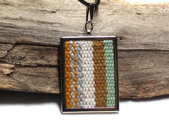 Mustard Striped Pendant Necklace | Hand Woven Tapestry Jewelry | Modern Needlework | Handwoven Boho Fashion | Striped Statement Piece | A107