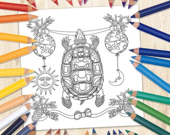 Tortoise Coloring Page, Printable Coloring Art, Animal Coloring Page, Fairy Animal Art, Kids Coloring Page, Downloaded Coloring Page