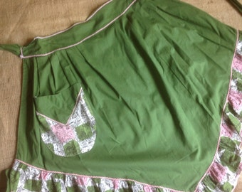 Hostess Apron Vintage Avocado Green and Pink