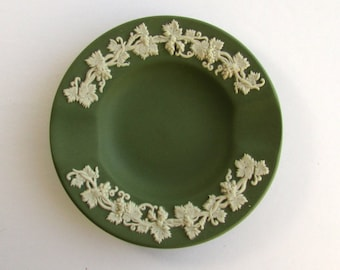 Vintage, Wedgwood, Green & White Jasperware, Ashtray