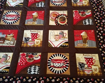 Coffee Time Lap Quilt:  Free Shipping