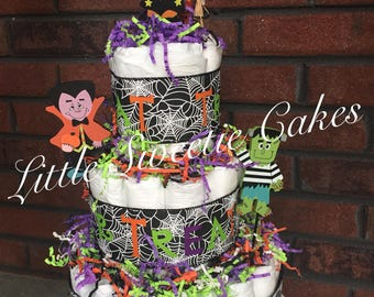 Halloween Characters 3 tier Diaper Cake, gender neutral, Fall baby shower cake