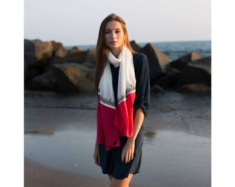 Scarf,bohemian,red and white, modern girl,own design,infinity,embroidery,tassels,soft,for her,spring scarves,elegant