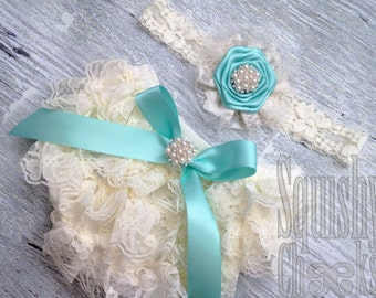 Aqua Vintage Lace Baby Bloomers and Headband, Lace and Pearl Rustic Headband and Bloomers, Elegant Baby Outfit, Newborn Photo Props