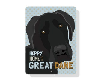 "Happy Home of a Great Dane Sign 9"" X 12"" (blue)"