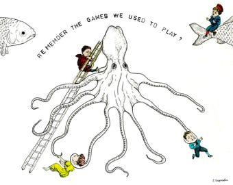 Illustration print - The games we used to play