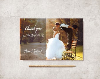 Photo Thank You Card Printable, Wedding thank you card, Digital File, 4x6 - Modern Thank You Card, Custom Thank you card